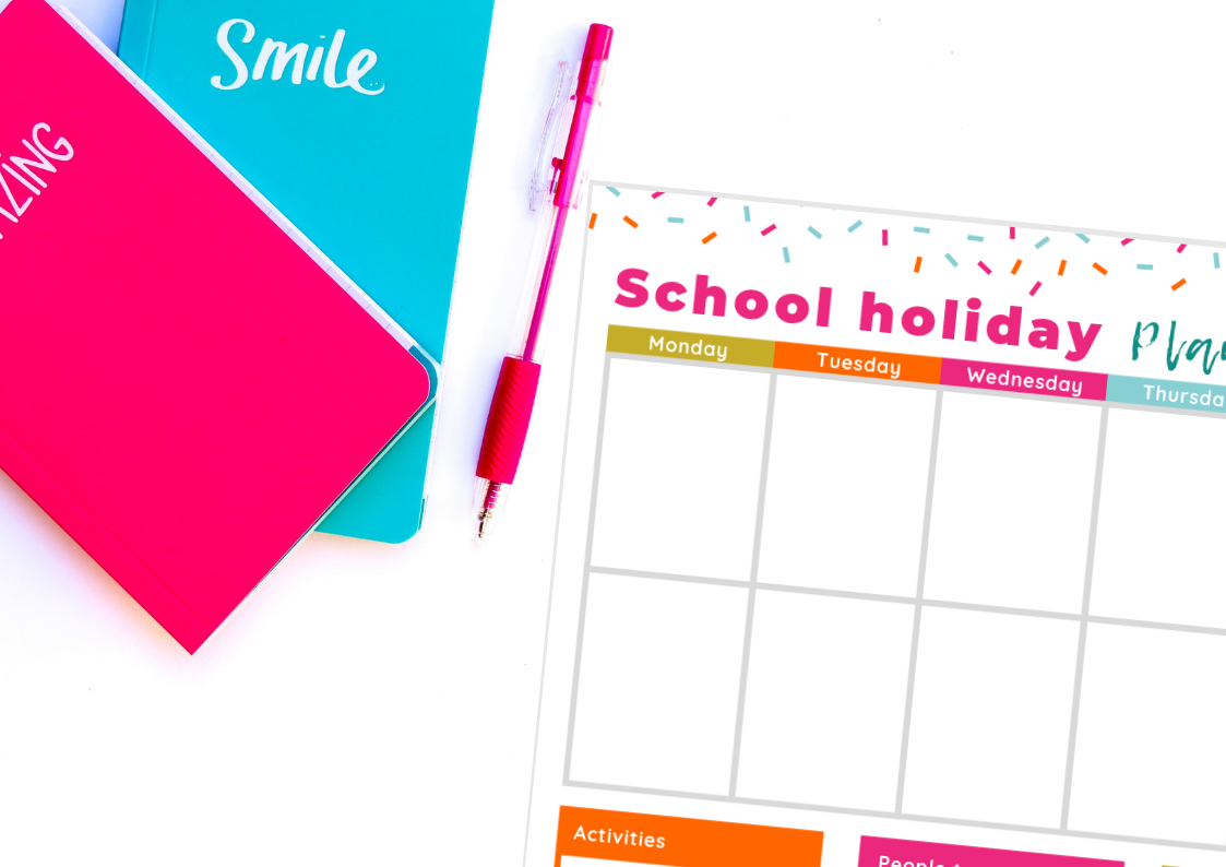 Free school holiday planner printable