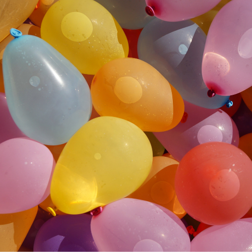 Fill balloons with water and pop with a stick