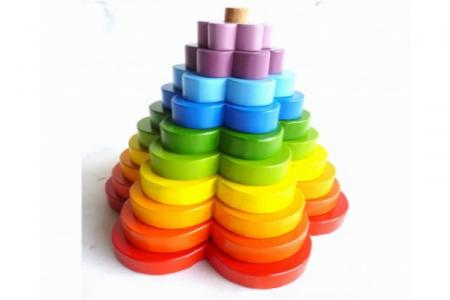 Wooden Rainbow Stacking Flowers